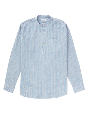 Cotton/Linen Popover Shirt - Blue/White Stripe