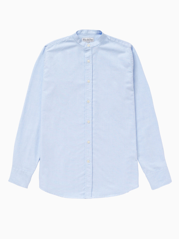 Men's Light Blue Brushed Cotton Collarless Shirt