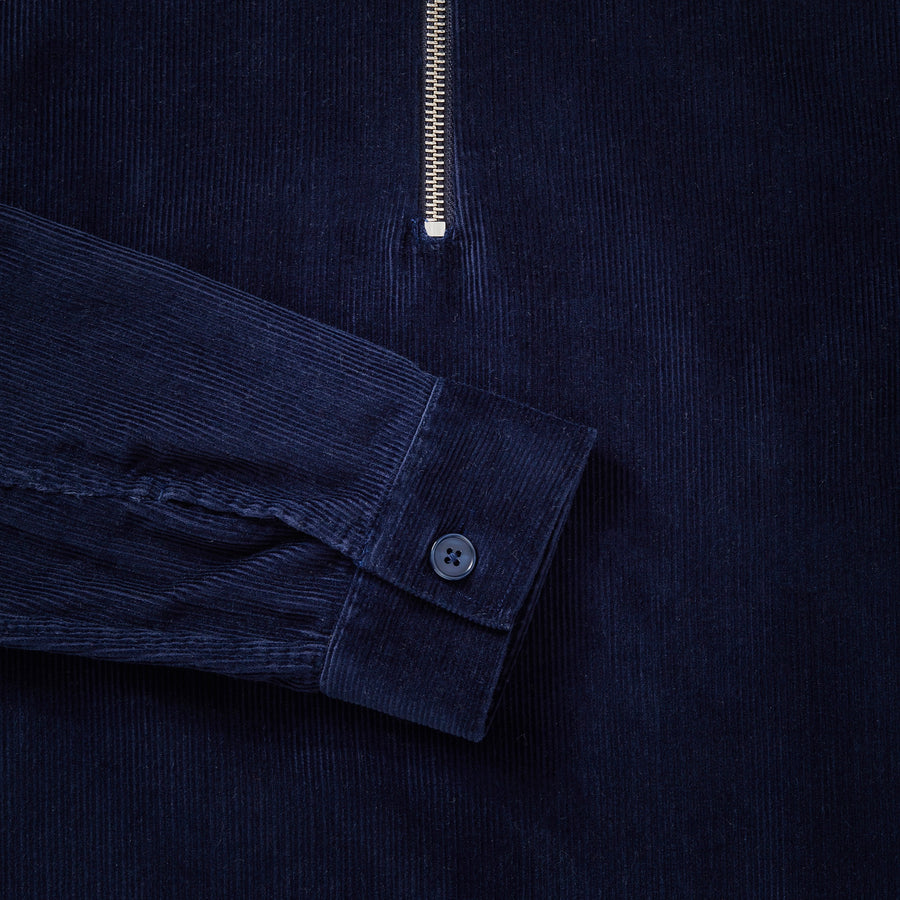 Cord Zip-Up - Navy Blue
