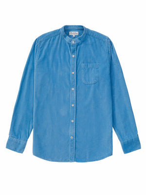Cord Collarless Shirt - Dusty Blue