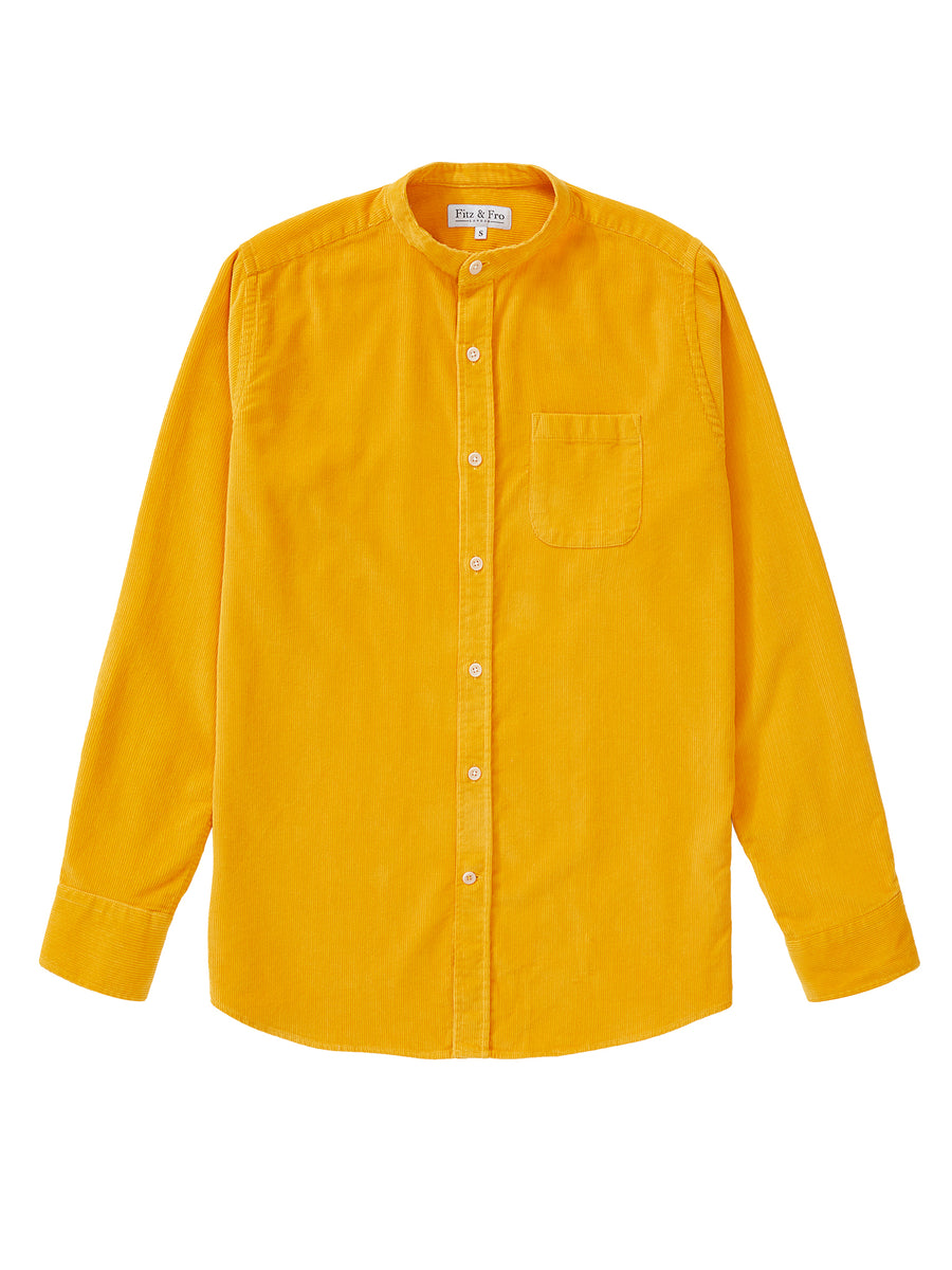 Cord Collarless Shirt - Burnt Yellow