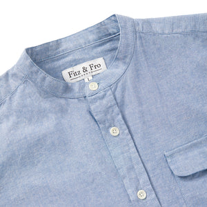 Mens Chambray Blue Cotton Popover Shirt - Fitz & Fro