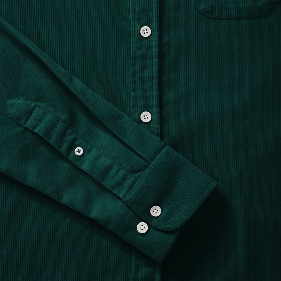 Bottle Green Cord Collarless Shirt - Fitz & Fro