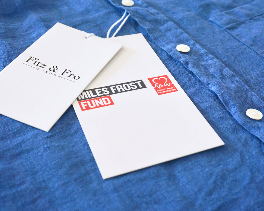 100% Linen Popover Shirt - 'The Miles' Blue