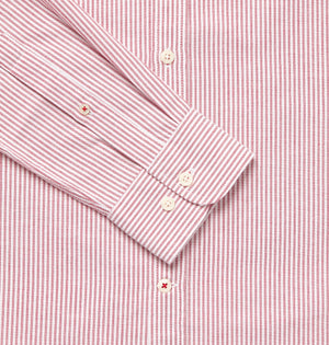 Men's Red & White Oxford Cotton Collarless Shirt