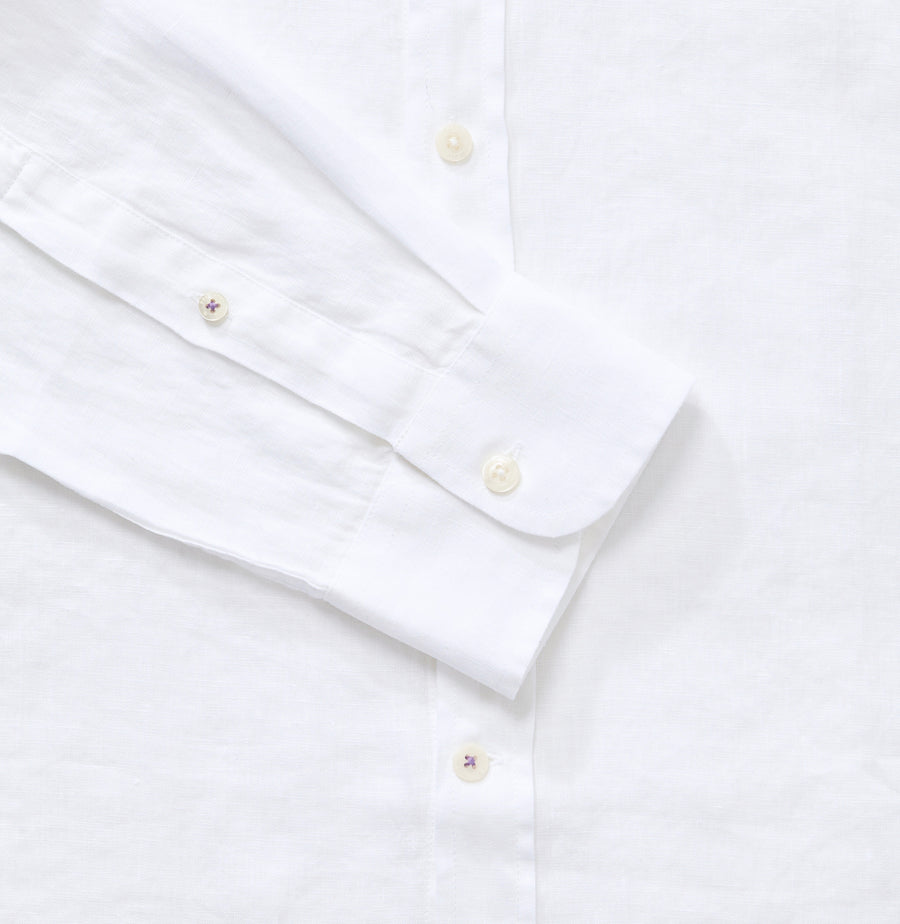 Men's White 100% Linen Collarless Shirt