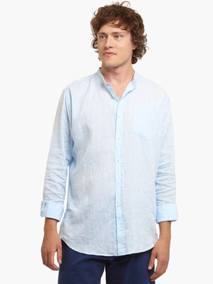 Men's Sky Blue 100% Linen Collarless Shirt