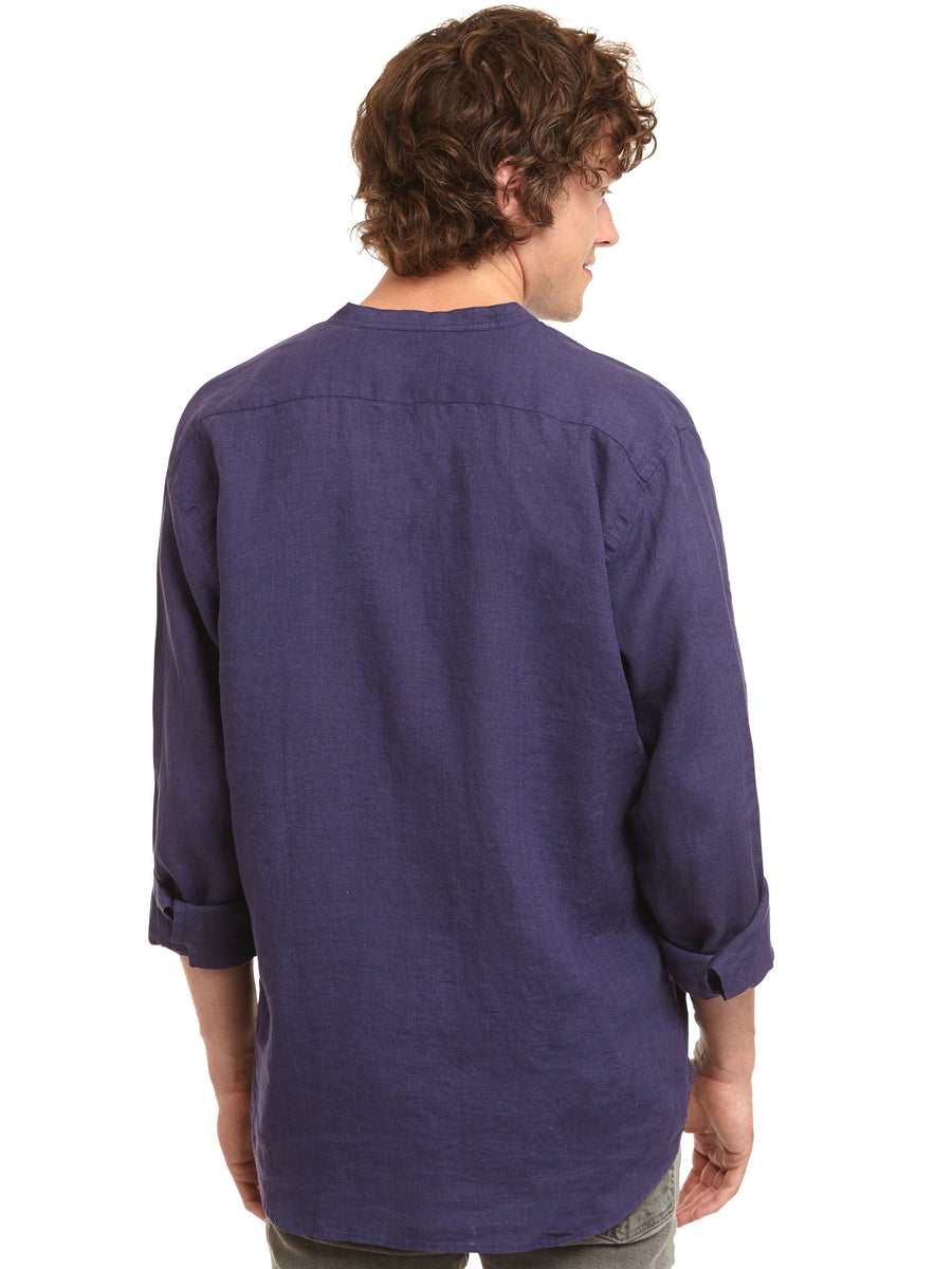 Men's Navy 100% Linen Collarless Shirt