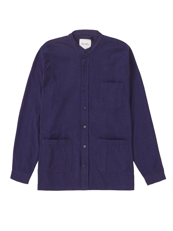 Cotton Collarless Overshirt - Dark Blue