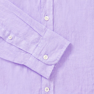 100% Linen Collarless Shirt - Lilac