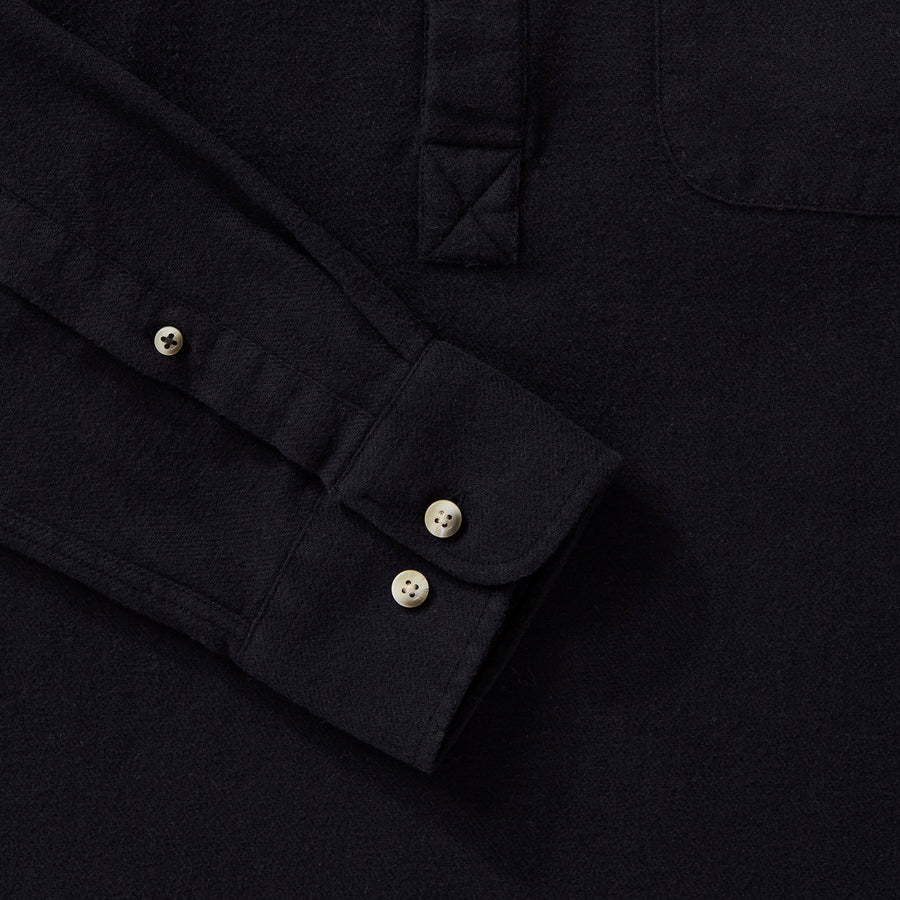 Men's Black Brushed Cotton Popover Shirt