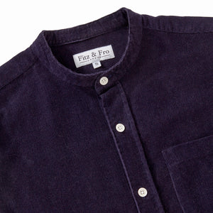Cord Collarless Shirt - Navy Blue