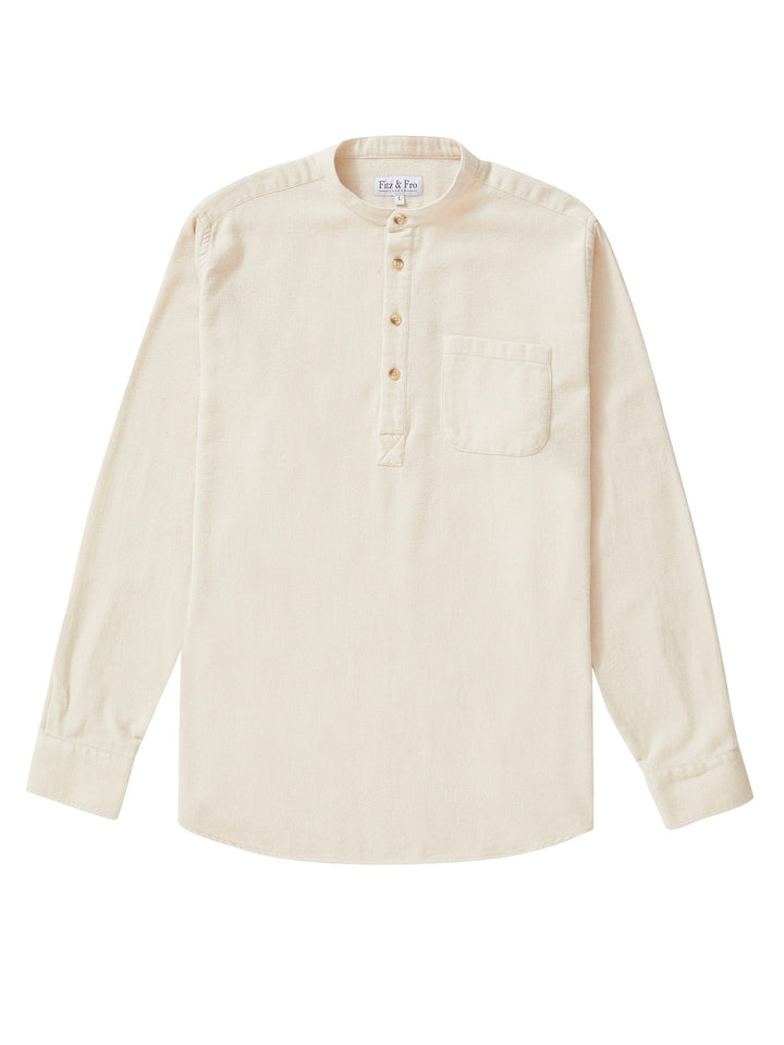 Men's Ecru Brushed Cotton Popover Shirt