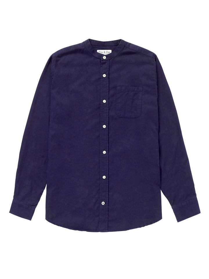Cotton/Wool Blend Collarless Shirt - Navy Blue