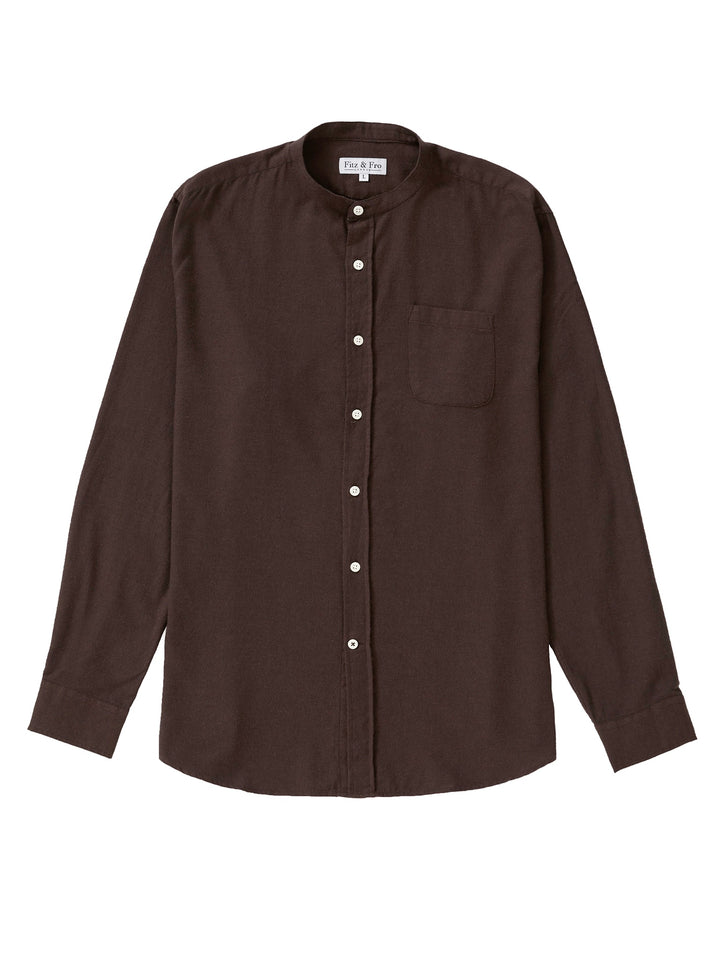 Cotton/Wool Blend Collarless Shirt - Dark Brown