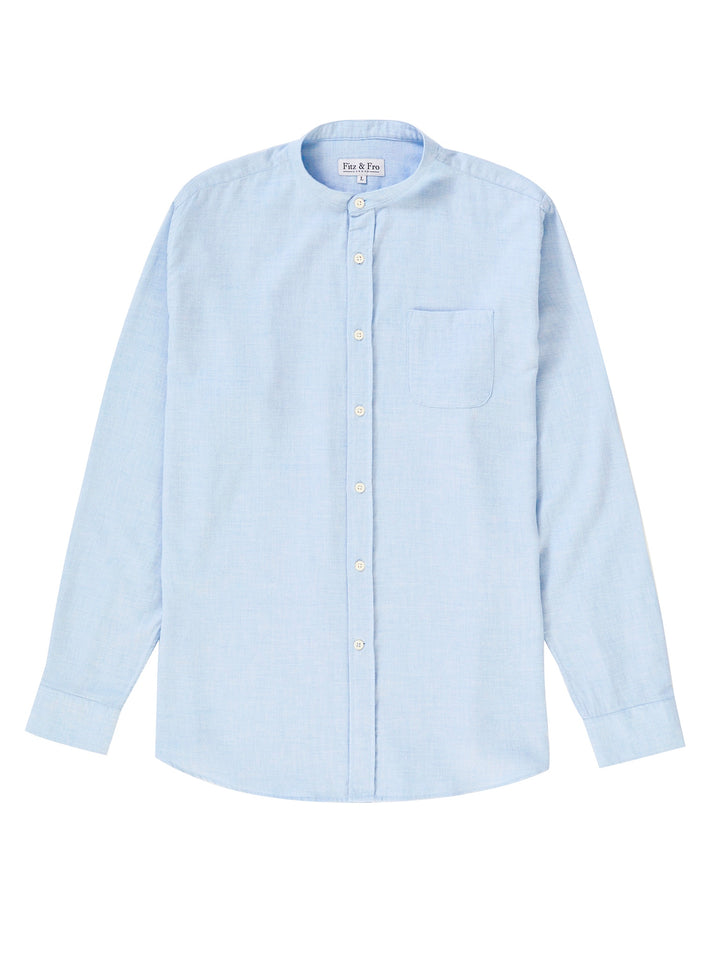 Men's Blue Cotton/Wool Blend Collarless Shirt