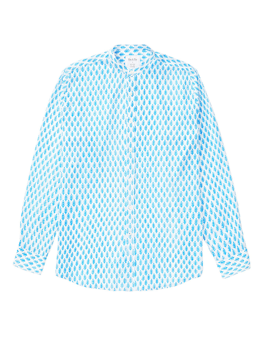 Blue/White Block Print Collarless Shirt