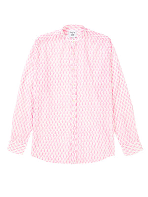 Pink/White Block Print Collarless Shirt