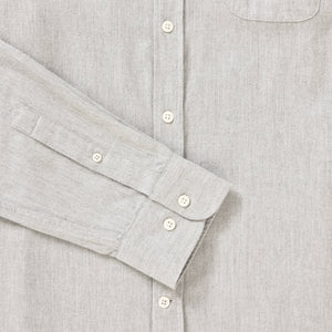 Men's Grey Cotton & Wool Collarless Shirt
