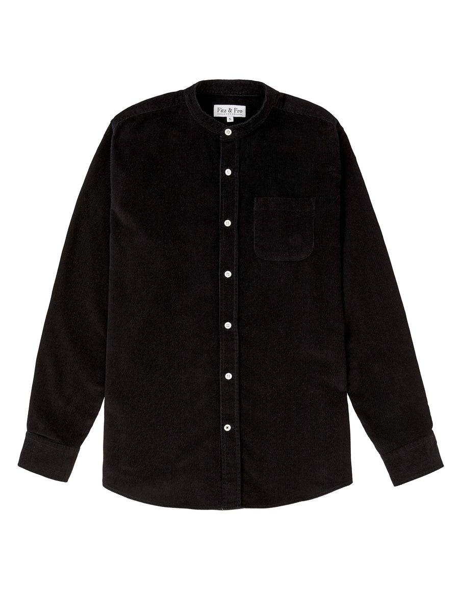 Cord Collarless Shirt - Black