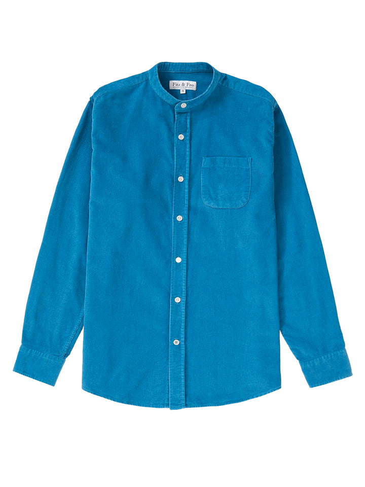 Cord Collarless Shirt - Petrol Blue