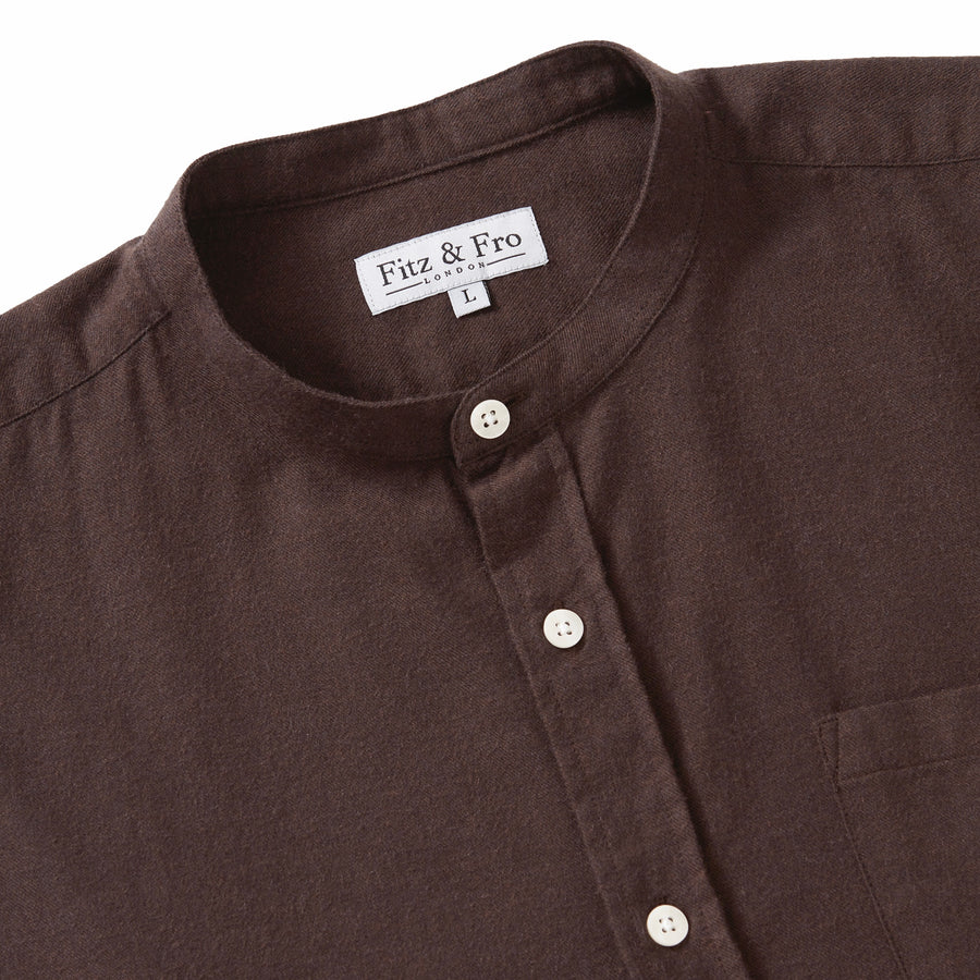 Men's Brown Cotton & Wool Collarless Shirt