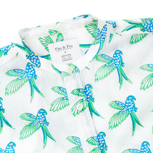 Parrot Block Print Collarless Shirt