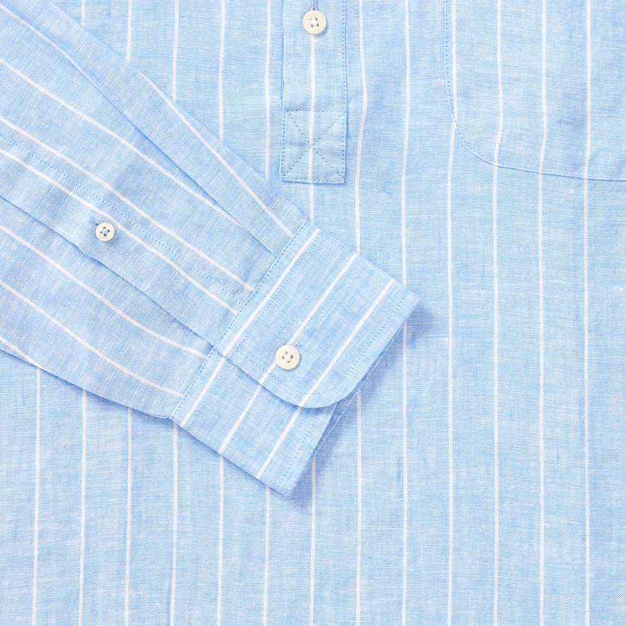 100% Linen Popover Shirt - Blue/White Stripe