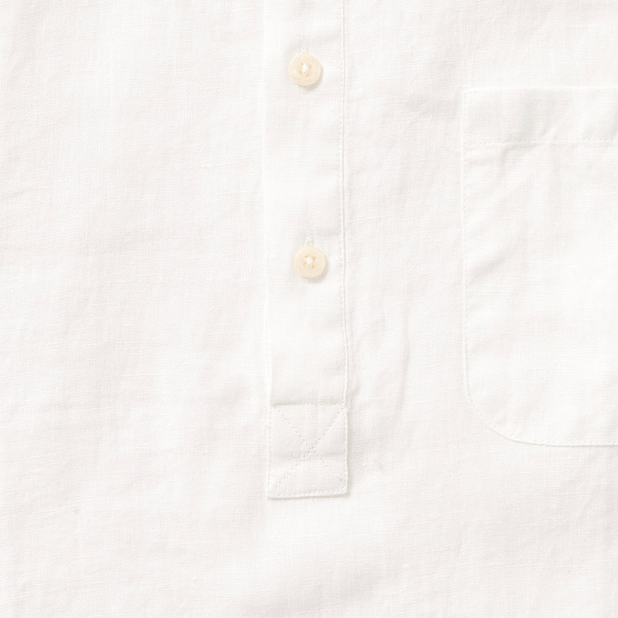 100% Linen Popover Shirt - Natural White