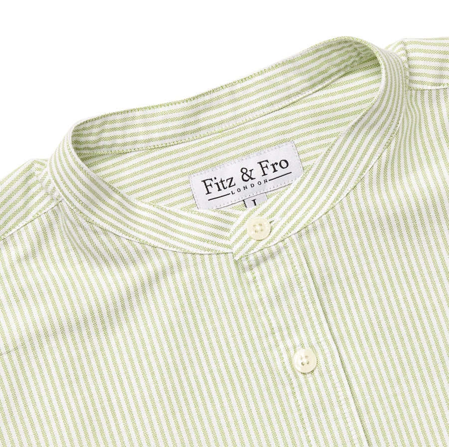 Men's Green & White Oxford Cotton Collarless Shirt