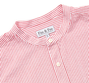 Men's Red & White Seersucker Collarless Shirt