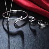 Silver Water Drop Drip Jewelry Set (Ring & Necklace)