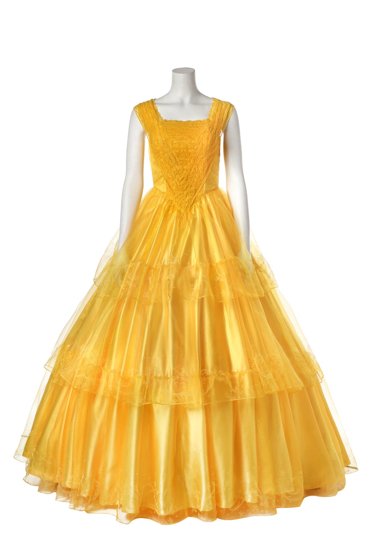 Beauty And The Beast Belle Cosplay Costume For Halloween Party Yellow Princess Dress