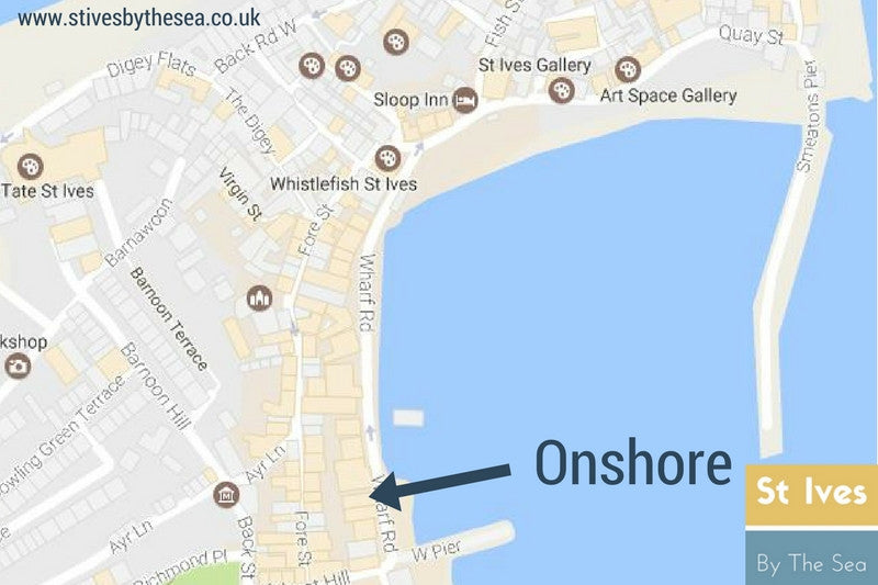 onshore restaurant st ives cornwall location map