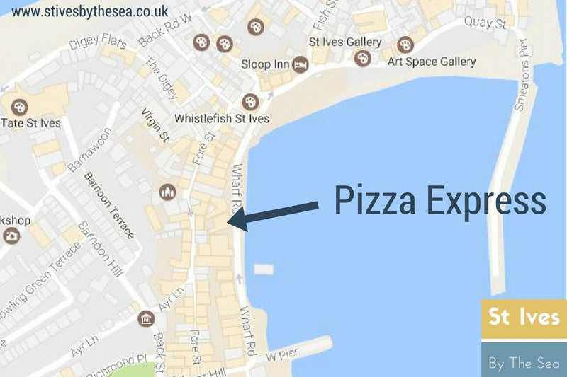 pizza express st ives cornwall location map