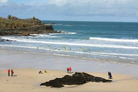 Porthmeor Beach Surfers Easter Monday St Ives Cornwall