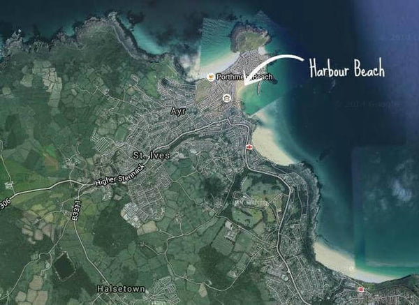 Map Showing St Ives Harbour Beach Cornwall
