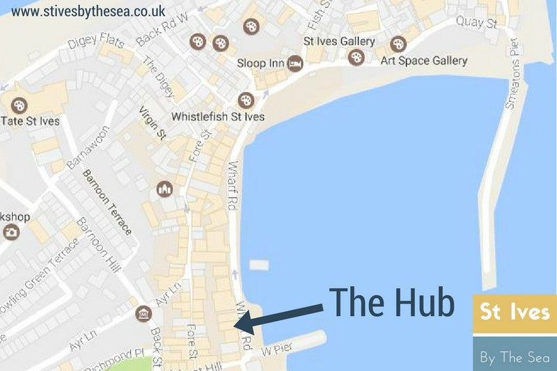 the hub bar restaurant st ives cornwall location map