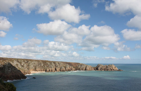 Porthcurno Beach Cornwall - The Minack Theatre - View Across To Pedn Vounder Beach