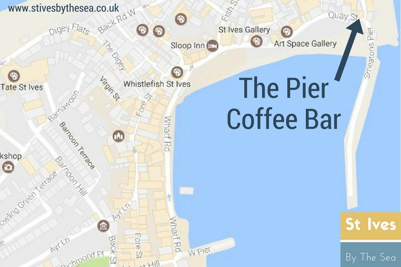 the pier coffee bar cafe st ives cornwall location map