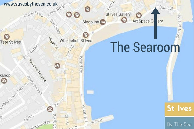 the searoom cafe location map st ives cornwall