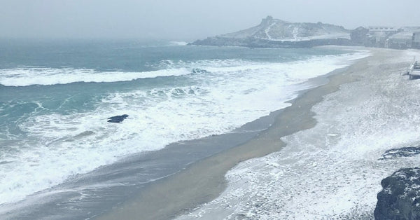 Snow On Porthmeor Beach Cornwall