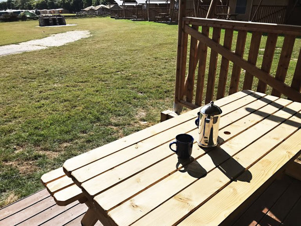 Glamping Trevella Park Cornwall - Coffee On The Veranda