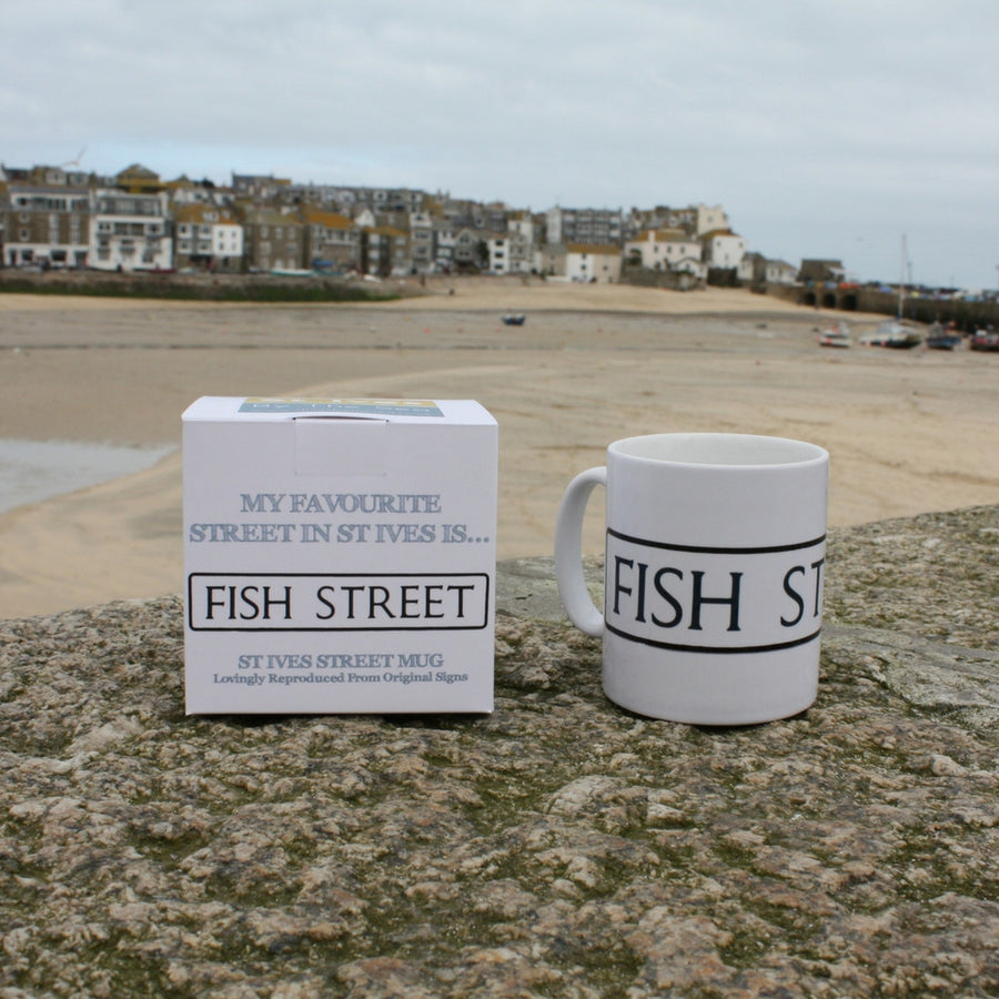 fish street st ives cornwall street sign mug