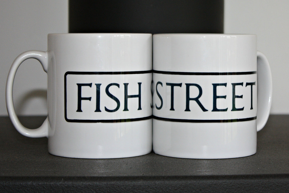 fish street st ives cornwall street sign mug both sides