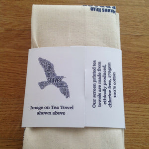 st ives seagull street name tea towel cornwall blue back of the packaging