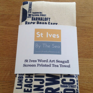 st ives seagull street name tea towel cornwall blue front of the packaging