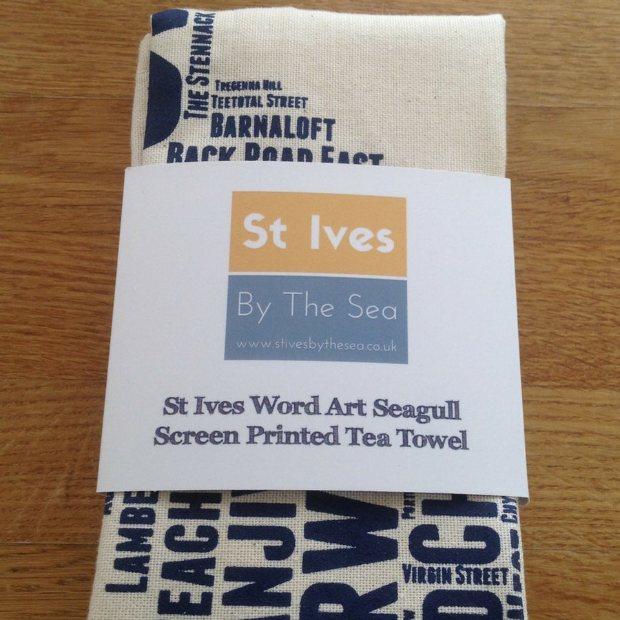 St Ives Street Name Seagull Tea Towel - Cornwall Blue - St Ives By The Sea