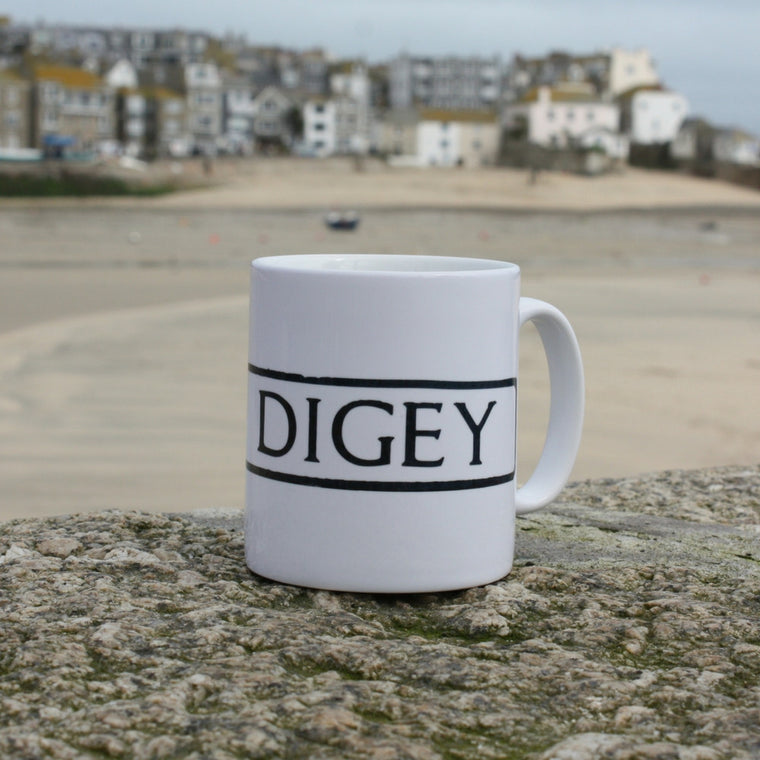 the digey st ives cornwall street sign mug view of the harbour