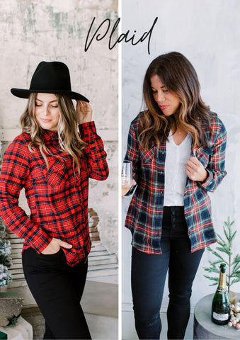 Two women wearing Christmas Plaid Flannel Shirts